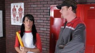 Cute Petite High School Teen Softball Player Seduces Coach