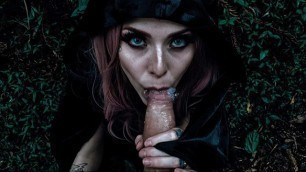 Wood Witch Blowjob for Halloween! Witch Cosplay for Halloween Public Video.